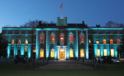 Armoury House, lit up blue at night