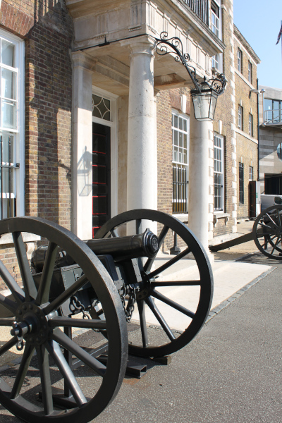 Armoury House portico and artillery gun, cannon