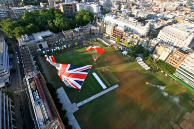 Artillery Garden, GB parachute and Armoury House, aerial view