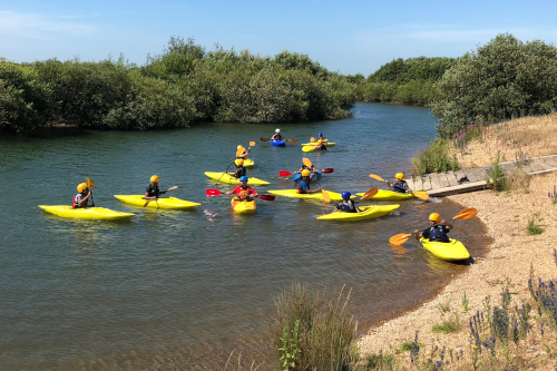 Cadets learning to kayak and canoe