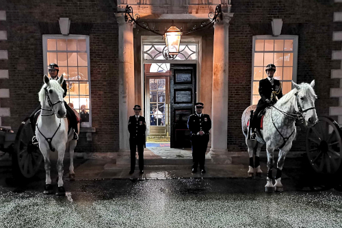 Cavalry mounted Special Constables on guard