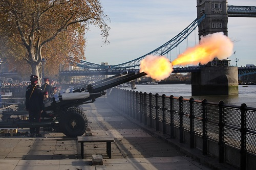 HAC Regiment fires a Gun Salute for the Prince of Wales' 70th Birthday