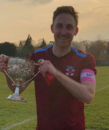 Footbal 2019  2nd XI captian Josh Bradbeer with the AFA Surrey Kent Intermediate Cup
